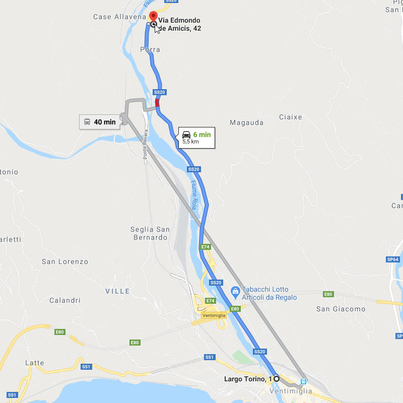 Come raggiungerci da Ventimiglia, Largo Torino